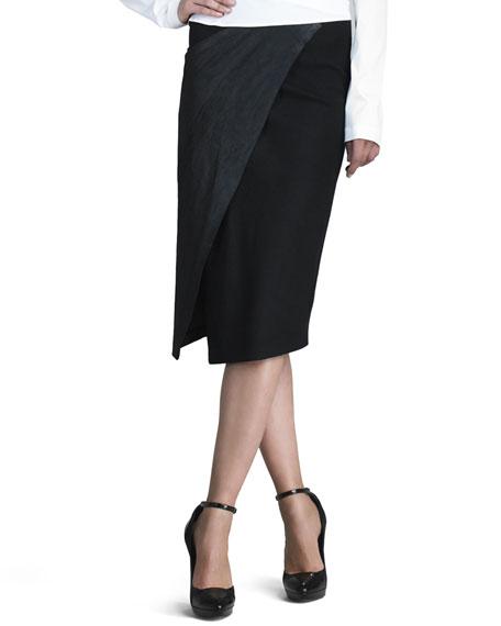 Stretch Leather Envelope Skirt