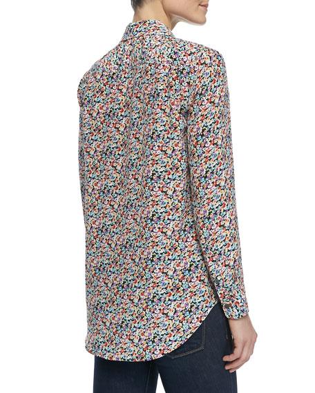 Reese Button-Down Wild Floral-Print Blouse
