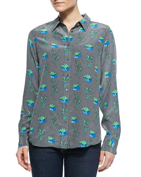 Brett Button-Down Floral-Print Blouse