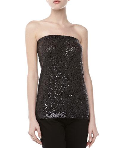 Donna Karan Sequined Strapless Top