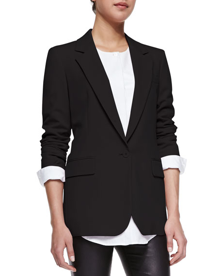 Trean Long Pastel Crepe Blazer