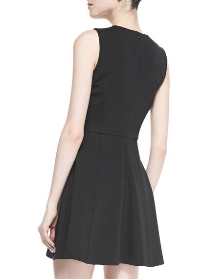 Tillora Techno-Jersey Sleeveless Flared Dress