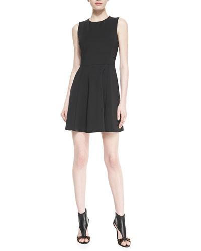 Theory Tillora Techno-Jersey Sleeveless Flared Dress
