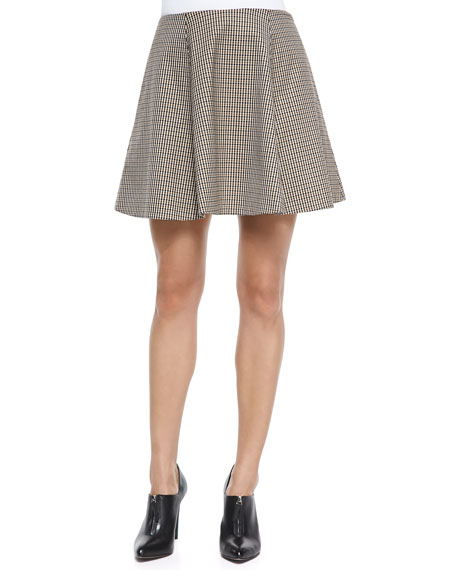 Theory Merlock Plaid A-Line Short Skirt