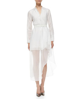 Theory Diaz Silk Runway Long-Sleeve Dress
