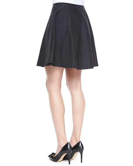 kate spade new york lula flared silk-cotton skirt