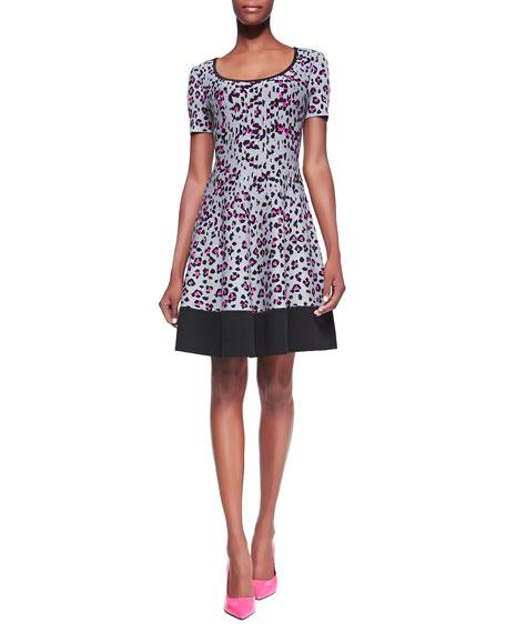 cyber leopard & cheetah-print sweater dress