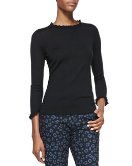 kate spade new york bekki ruffled 3/4-sleeve sweater