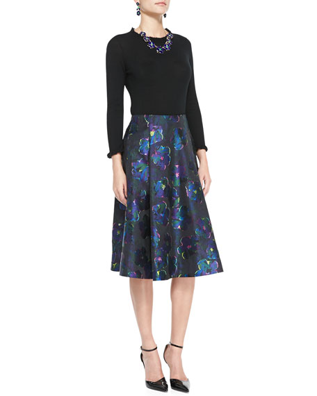 kate spade new york floral clip dot a-line skirt