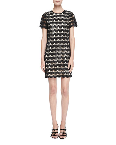 kate spade new york virginia short-sleeve scalloped lace dress