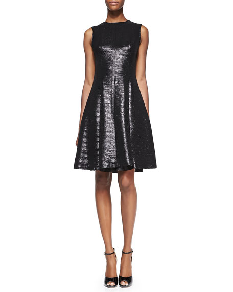 emma sleeveless metallic fit-and-flare dress