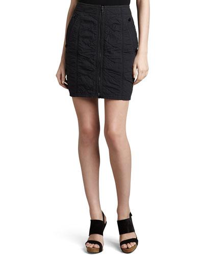Donna Karan Vintage Washed Front-Zip Skirt, Deep