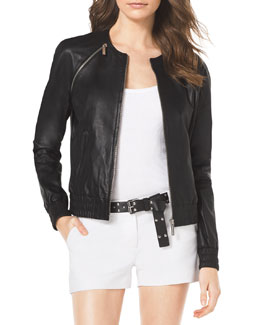 MICHAEL Michael Kors  Smock-Trim Leather Jacket