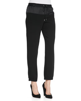 MICHAEL Michael Kors  Mixed-Fabric Studded Track Pants