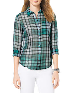 MICHAEL Michael Kors  Ascot Sheer Plaid Blouse