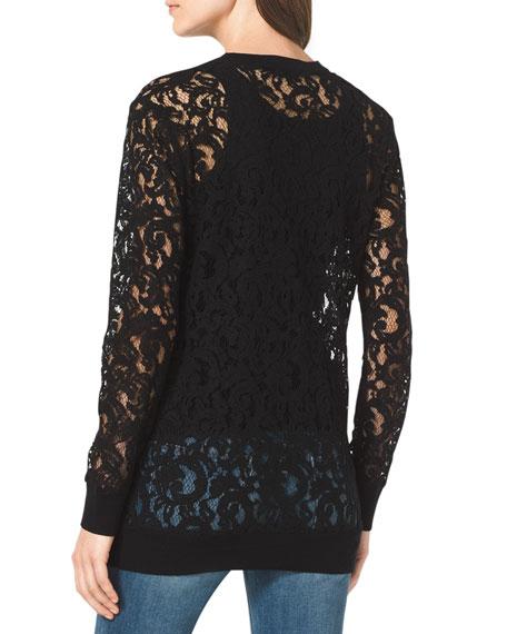 Sheer Lace Knit-Trim Cardigan