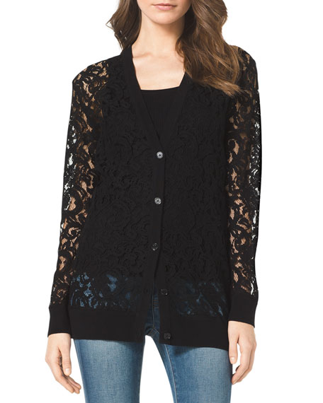 Sheer Lace Knit-Trim Cardigan