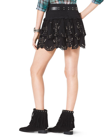 Studded Tiered Eyelet Skirt