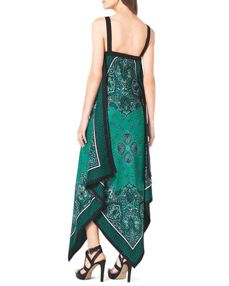 Scarf-Print Silk Dress