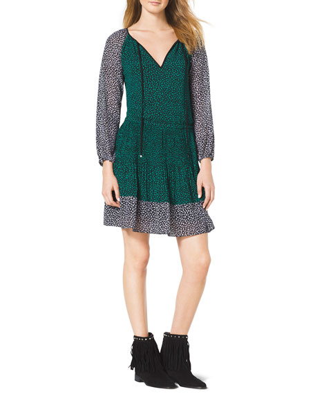 Two-Tone Ruffled Dress