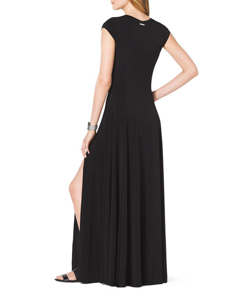Cap-Sleeve Slit Maxi Dress