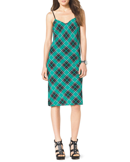 Sleeveless Plaid Slip Dress