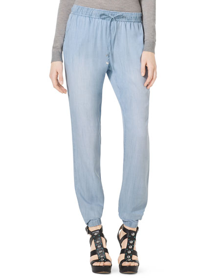Pull-On Chambray Track Pants