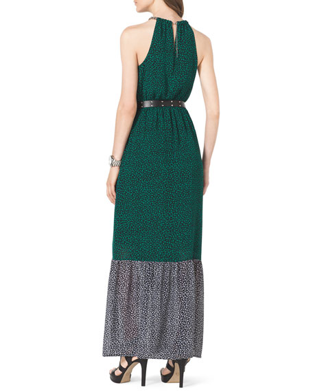 Two-Tone Jersey Maxi Dress