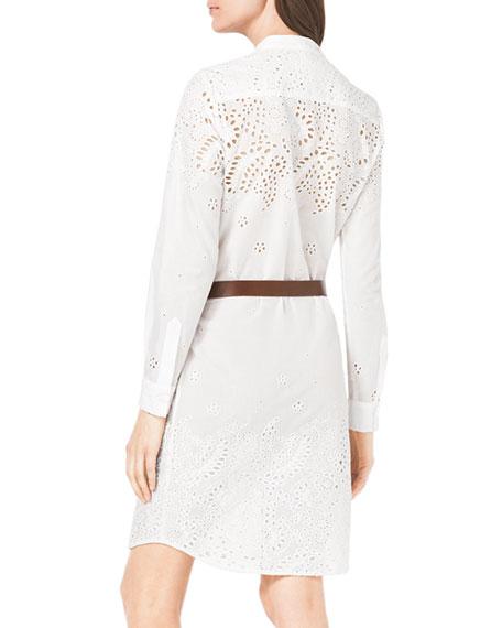 Eyelet-Trim Belted Cotton Dress