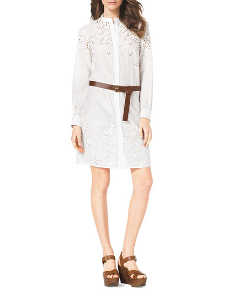 Eyelet-Trim Belted Cotton Dress