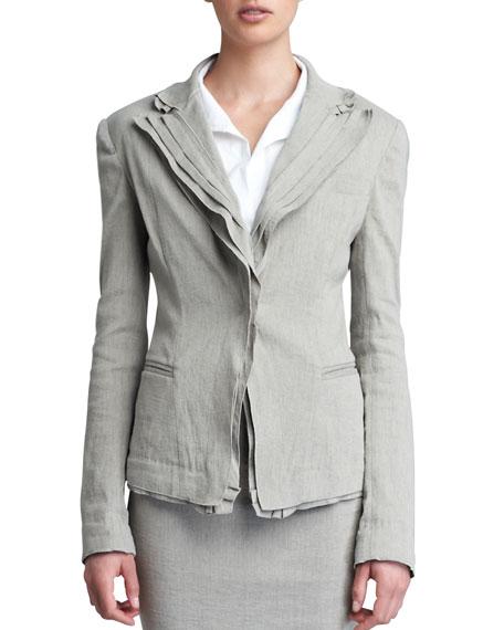 Layered Lapel Linen-Blend Jacket, Hemp