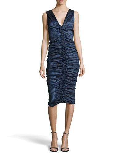 Donna Karan Sleeveless Ruched Knee-Length Dress