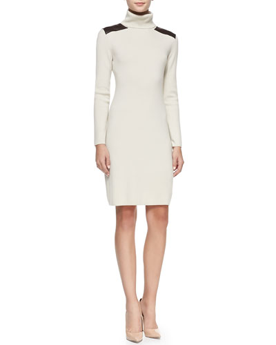 kate spade new york long-sleeve leather-patch sweater dress