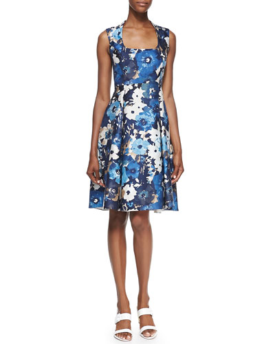kate spade new york autumn floral scoop-neck dress