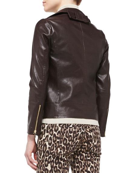 b014942de linnea zip-front moto jacket with back bow detail