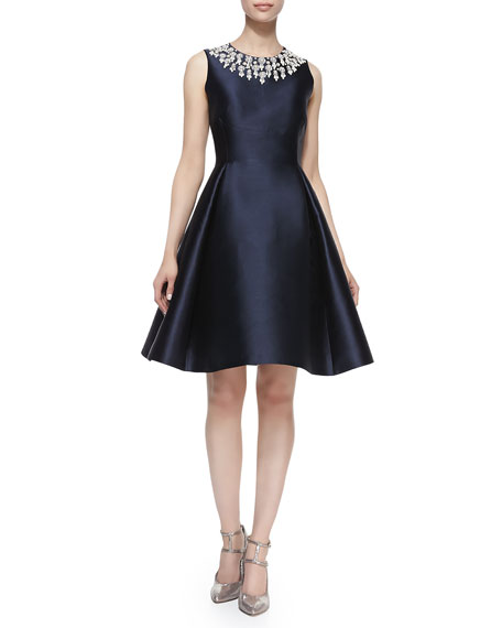 sleeveless pearly rosette-neck cocktail dress
