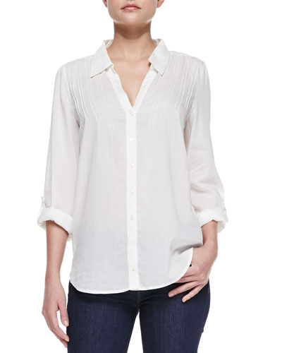 Joie Millicent Sheer Cotton-Voile Blouse