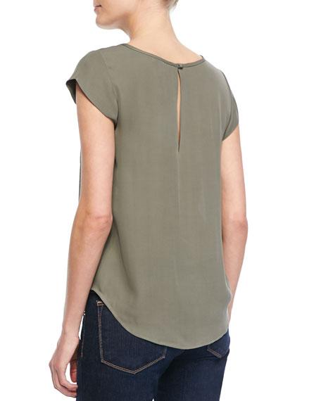 Rancher Cap-Sleeve Pocket Blouse, Fatigue