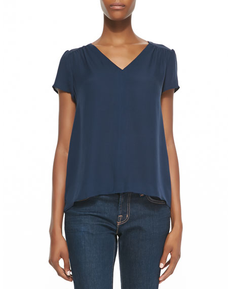 Arna Silk V-Neck Top, Dark Navy