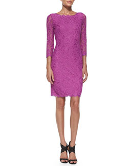 Diane von Furstenberg Zarita 3/4-Sleeve Lace Dress