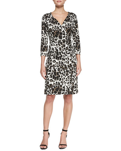 Diane von Furstenberg New Julian Two Snow Leopard-Print Wrap Dress