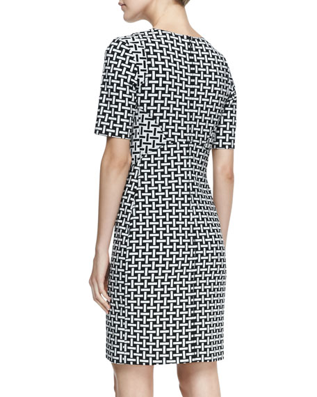 Half-Sleeve Weave-Print Sheath Dress