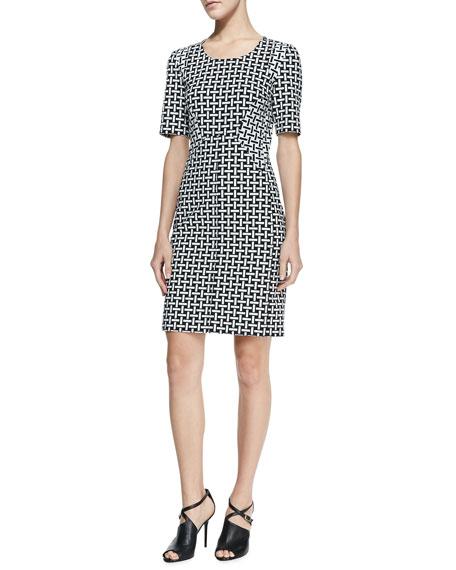 Half-Sleeve Weave-Print Sheath Dress