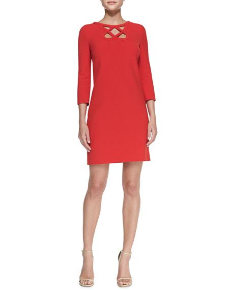 3/4-Sleeve Cutout-Neck Dress