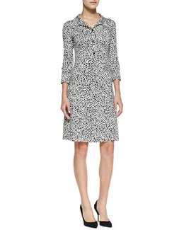 Diane von Furstenberg Collared Rose Heart-Print Shirtdress