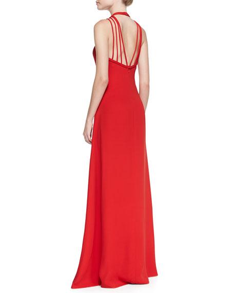 Halter-Neck Back Strap Gown