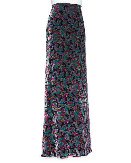 Cody Floral Velvet Maxi Skirt