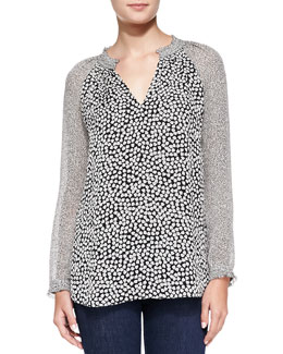 Diane von Furstenberg Long-Sleeve Rose Heart-Print Top