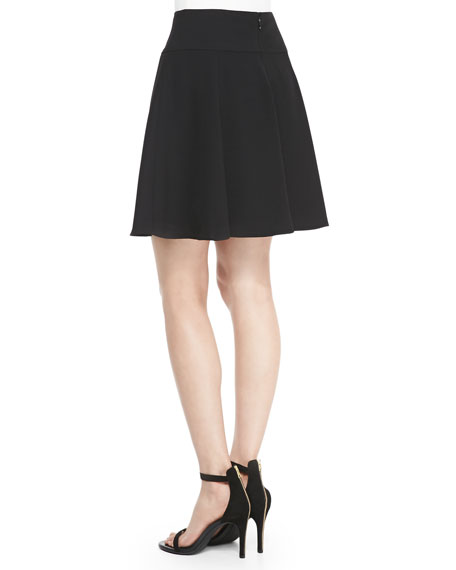 Cascade Crepe-Back Satin Skirt