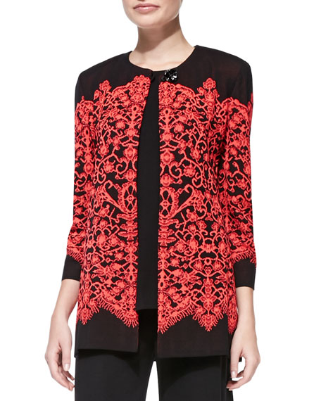 Lace-Print Long Jacket, Plus Size